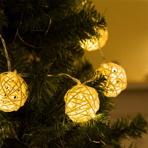 "Glitzhome Christmas 47.24""L String Lights With 5cm Rattan Ball"