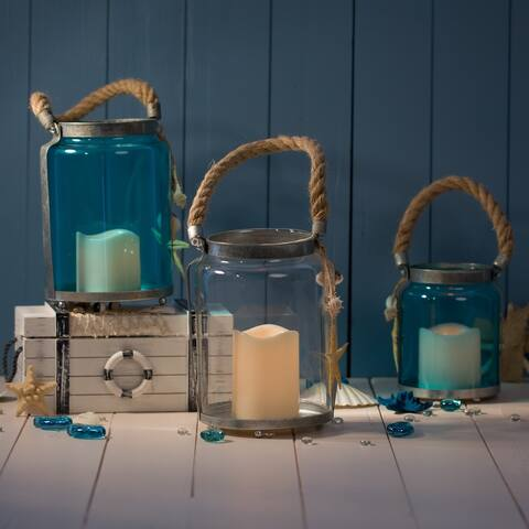 "Glitzhome 9""H Blue Coastal LED Lantern"