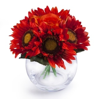 Enova Home Mixed Sunflower and Rose Silk Flower Arrangement in Clear Glass Vase With Faux Water For Home Decoration