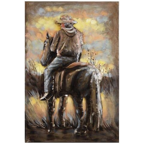 """Cowboy"" Mixed Media Iron Hand Painted Dimensional Wall Art"