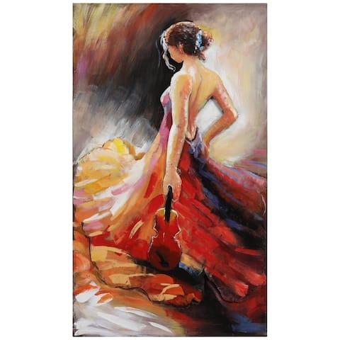 """Flamenco"" Women in Beautiful Dress Mixed Media Iron Hand Painted Dimensional Wall Art"