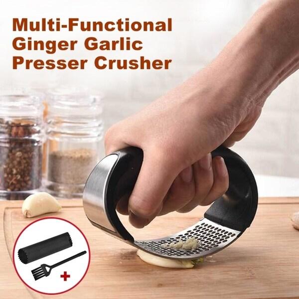 Ginger Garlic Presser Crusher Cooking Tool Utensils Grater Garlic Rocker Stainless Steel - 4 * 3 inch. Opens flyout.