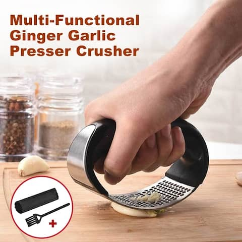 Ginger Garlic Presser Crusher Cooking Tool Utensils Grater Garlic Rocker Stainless Steel - 4 * 3 inch