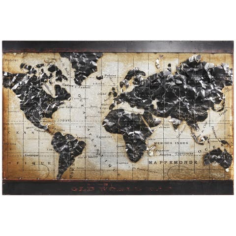 """""""World Map 2"""" Mixed Media Iron Hand Painted Dimensional Wall Art"""