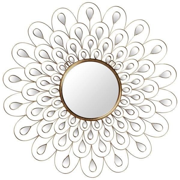 """""""Flower Burst"""" Bling Round Wall Mirror with Gold Metal Frame - Clear - 36 x 36"""
