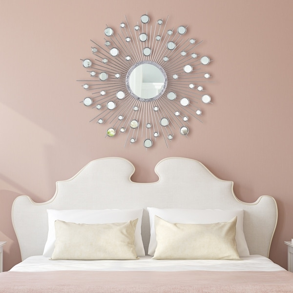 """""""Milkyway I"""" Bling Round Wall Mirror with Silver Metal Frame - Clear - 36 x 36"""