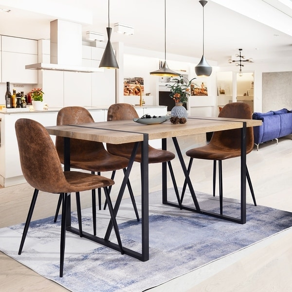 Carbon Loft Sirola Mid-century Powder-coated Brown 5-piece Dining Set. Opens flyout.