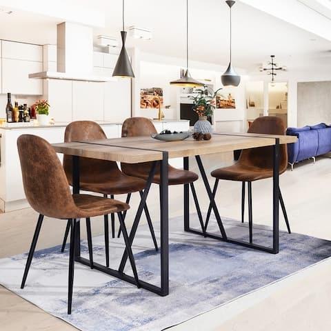 Carbon Loft Sirola Mid-century Powder-coated Brown 5-piece Dining Set