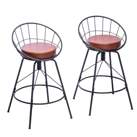 Silver Orchid Dahlberg Upholstered Swivel Industrial Barstools (Set of 2)