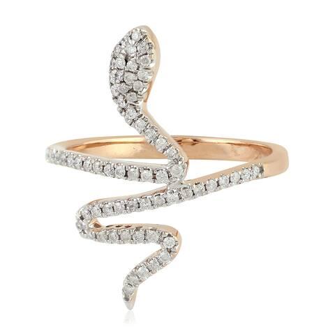 18kt Gold Pave Diamond Snake Ring Handmade Jewelry With Jewelry Box