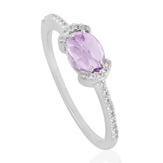 925 Silver Designer Amethyst Topaz Ring Semiprecious Stone Jewelry