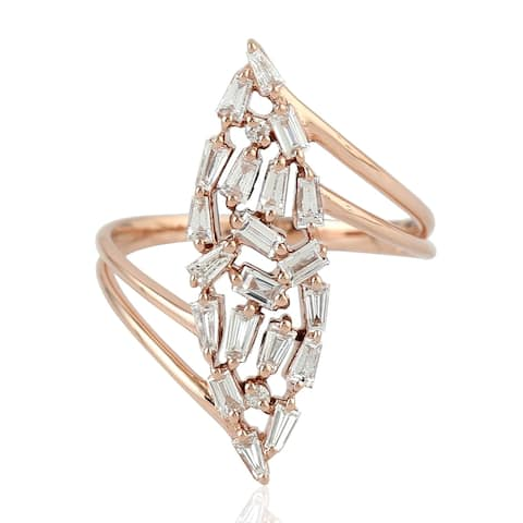 18Kt Gold Diamond Designer Cocktail Ring Baguette Handmade Jewelry