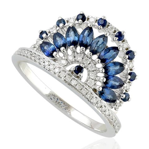 18Kt Gold Diamond Designer Sapphire Cocktail Ring Precious Stone Jewelry