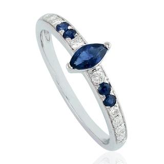 18Kt Gold Genuine Diamond Designer Sapphire Band Ring Precious Stone Jewelry