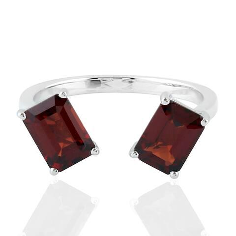 925 Silver Designer Garnet Between The Finger Ring Semiprecious Stone Jewelry