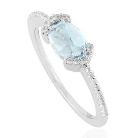 925 Sterling Silver Topaz Women Ring Semiprecious Stone Jewelry