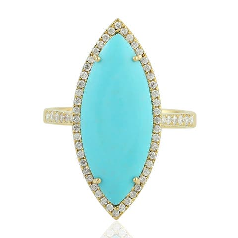 14Kt Gold Genuine Diamond Turquoise Cocktail Ring Gemstone Jewelry With Jewelry Box