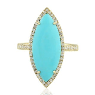 14Kt Gold Genuine Diamond Designer Turquoise Cocktail Ring Gemstone Jewelry