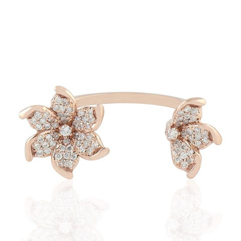 18k Gold Pave Diamond Flower Shape Between The Finger Ring Jewelry With Jewelry Box