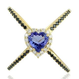 14K Gold Diamond Heart Tanzanite Cocktail Ring Gemstone Jewelry