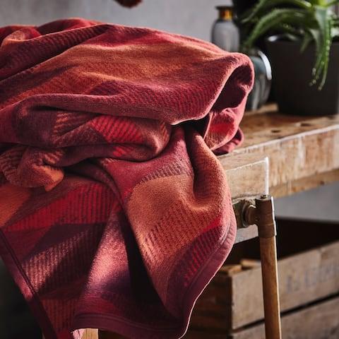 IBENA Vibrant Fall Colored Woven Cotton Blend Throw Blanket Temara