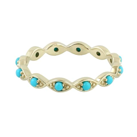 14kt Yellow Gold Natural Turquoise Band Ring Gemstone Jewelry