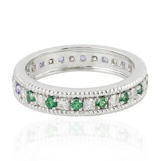 18Kt Gold Diamond Designer Tanzanite Tsavorite Band Ring Gemstone Jewelry