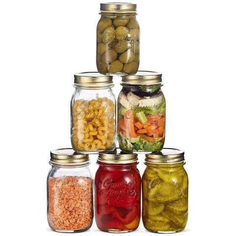 Quattro Stagioni Glass Mason Jars - 6 Pack - (17 Ounce) with Airtight Lid for Canning, Fermenting, Preserving, Storing