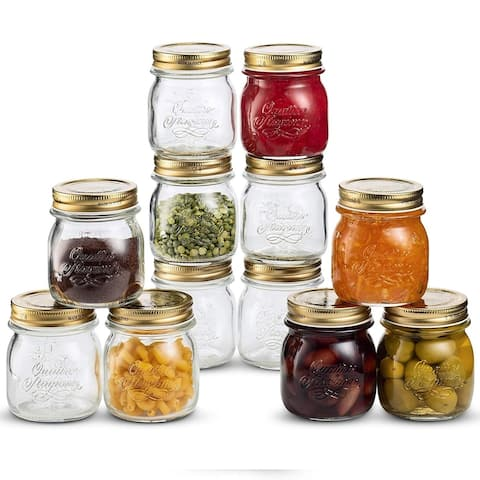 Bormioli Rocco Glass Mason Jars 8.5 Ounce (12-Pack) with Metal Airtight Lid, for Crafts, Spices, Dry Food Storage
