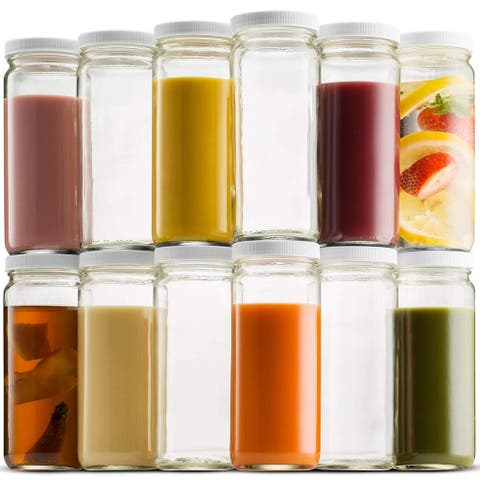 Travel Glass Drinking Bottle Mason Jar 16 Ounce (12-Pack) Plastic Airtight Lids, Reusable Glass Water Bottle