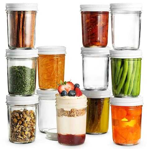 Glass Mason Jars Full Mouth - 8 Ounce - Glass Jars with Metal Airtight Lids, Food Storage, Canning, Drinking Jars (12 Pack)