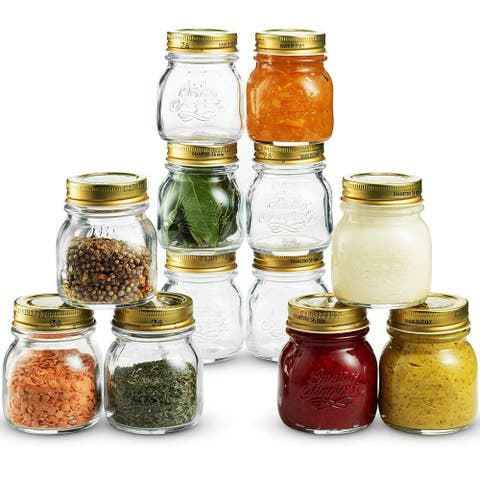 Quattro Stagioni Glass Mason Jars 5 Ounce Mini Jars (12-Pack) with Metal Airtight Lid Crafts, Spices, Dry Food Storage