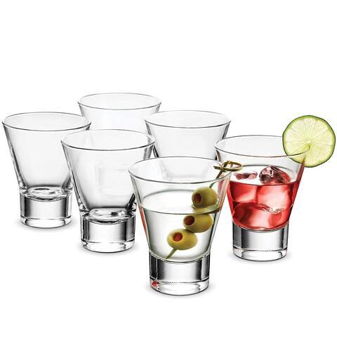Bormioli Rocco Cocktail Glasses set - 8.5 Oz - Bar Glass (6 Pack) Stemless Martini Glasses for Alcoholic Beverages Whiskey Glass