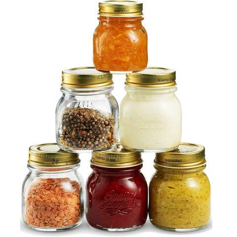 Bormioli Rocco Quattro Stagioni Small Glass Mason Jars 5 Oz (6-Pack) with Metal Airtight Lid, Crafts, Spices, Dry Food Storage