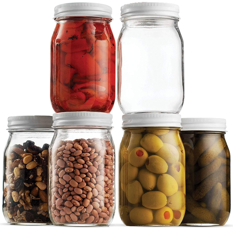Glass Mason Jar 16 Ounce 1 Pint 6 Pack Metal Airtight Lid Preserving Canning Jars Dry Food Storage Decorating Jar 20051826 4ebc 4b68 b321 b0ff275281be
