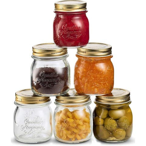 Bormioli Rocco Quattro Stagioni Glass Mason Jars 8.5 Ounce 6-Pack with Metal Airtight Lid, For Crafts, Spices, Dry Food Storage