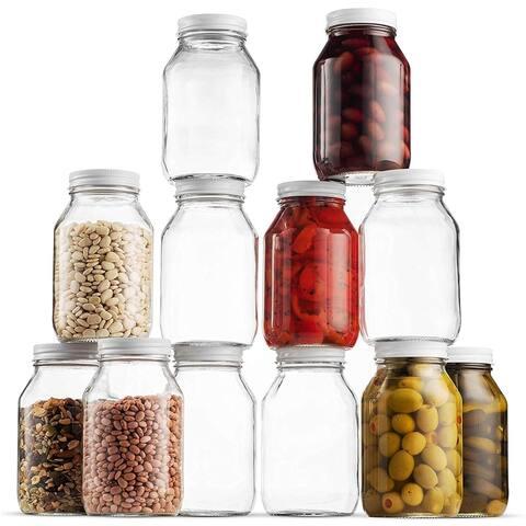 Glass Mason Jars 32 Ounce 1 Quart, Metal Airtight Lid, Canning Jar, Dry Food Storage, Craft Storage, Decorating Jar (12 Pack)
