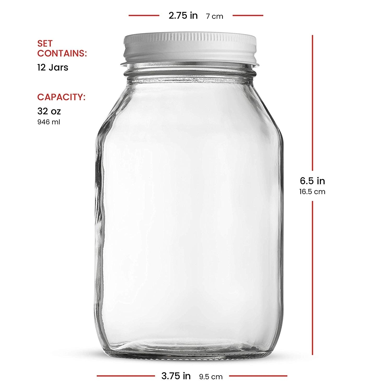 Glass Mason Jars 32 Ounce 1 Quart Metal Airtight Lid Canning Jar Dry Food Storage Craft Storage Decorating Jar 12 Pack Overstock 29043346
