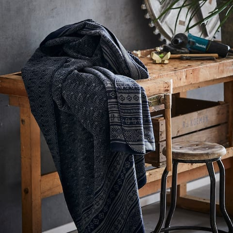 IBENA Navy Blue Scandinavian Jacquard Woven Throw Blanket Basel