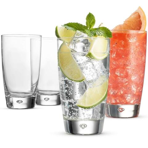 Bormioli Rocco LUNA Italian Drinking Glasses - 15 Ounce Collins glass (Set of 4) Heavy Base Bar Glass - Highball Glasses