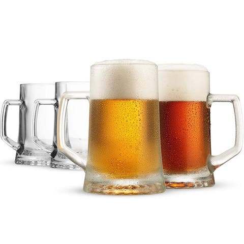 Bormioli Rocco 4-Pack Solid Heavy Large Beer Glasses with Handle - 17.25 Ounce Glass Steins, Traditional Beer Mug Glasses Set