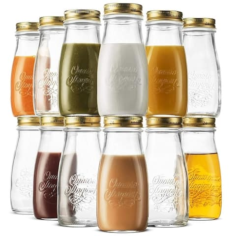 Bormioli Rocco Quattro Stagioni Glass Drinking jar bottle 13.5 Ounce (12 Pack) Milk Bottles with Metal Airtight Lids