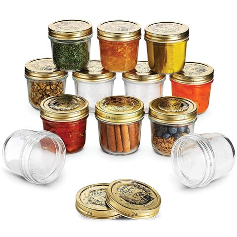 Bormioli Quattro Stagioni Mason Jars 6.75 Ounce Glass Jar (12 Pack) with Metal Airtight Lid Canning Jar