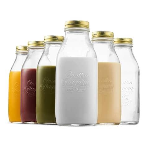 Bormioli Rocco Quattro Stagioni Glass Milk Bottle 33.75 Ounce - 1 Liter (6 Pack) with Airtight Lid
