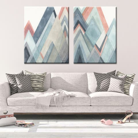 Carson Carrington CORAL HILLS Abstract 2-piece Gallery Wrapped Canvas