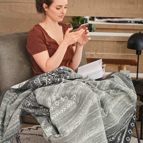 IBENA Grey White Gabbeh Reversible Woven Cotton Blend Throw Blanket Brekstad