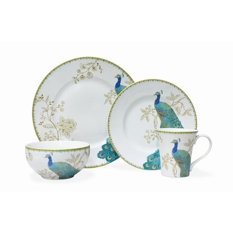 222 Fifth Peacock Garden White 16 Piece Dinnerware Set, Service for 4