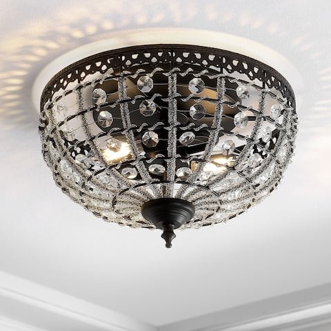 """Anita 12.25"""" Low-Ceiling LED Flush Mount, Black/Clear by JONATHAN Y"""
