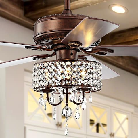 "Becky 52"" 3-Light LED Chandelier Fan With Remote, by JONATHAN Y"