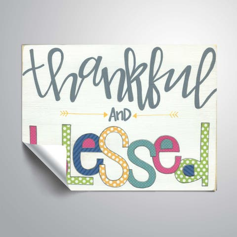 ArtWall Thankful and Blessed Removable Wall Art Mural